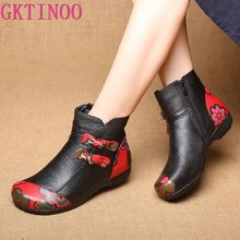 GKTINOO Winter Autumn Ankle Boots Women Genuine Leather Shoes Handmade Women Shoes Plush Flat Heel Snow Boots Plus Size 35-41