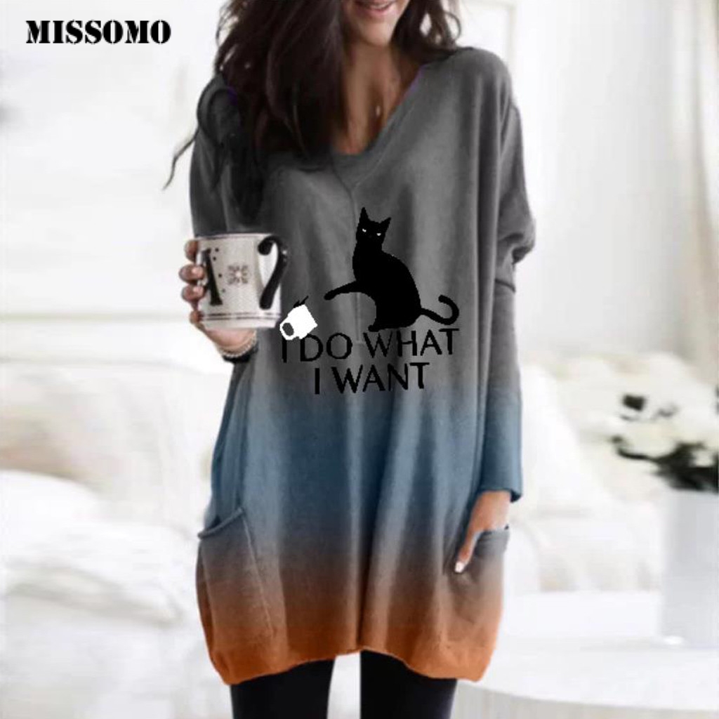 MISSOMO T shirt women Dyeing cat Print Long Sleeve Pullover Patchwork Loose harajuku Winter top tee t-shirt female clothes 11