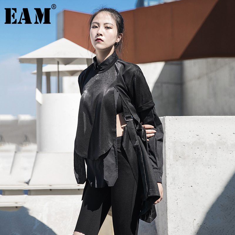 [EAM] Women Black Vent Buckle Split Joint Loose T-shirt New Round Neck Short Sleeve  Fashion Tide  Spring Summer 2020 1R6150