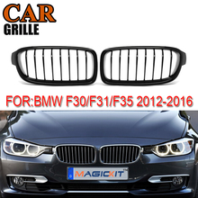 MagicKit Pair Gloss Black Front Kidney Grille Grilles For BMW 3 Series F30 F31 2012-2016 Racing Grills 1 pair f30 car styling front grill style f31 kidney black replacement grille hood for bmw 3 series f30 f31 2012 2016 gloss black