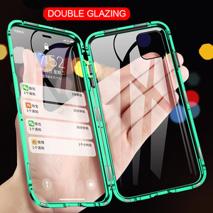 360 Magnetic Adsorption Metal Case For iPhone 12 11 Pro XS Max XR Double-Sided Glass Case For iPhone 7 8 6s Plus SE Magnet Cover(China)
