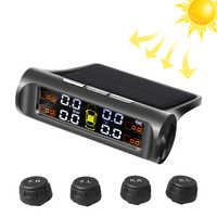TPMS energía Solar TPMS con alarma de presión de neumático de coche Monitor Auto sistema de seguridad neumáticos presión temperatura advertencia