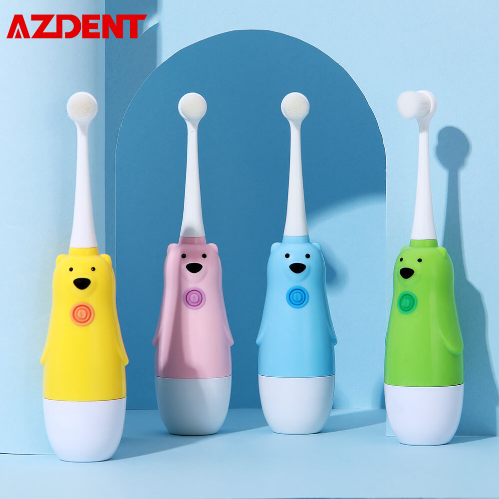 AZDENT Children Electric Toothbrush Cartoon Frog Bear Penguin Kids Sonic Battery Powered Toothbrush Pink Green Blue Yellow White image