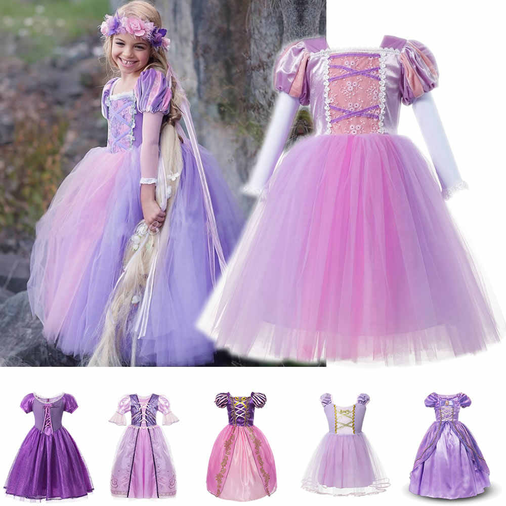 Kids Tangled Rapunzel Princess Dress For Girl Purple Lace Party Prom Costumes Halloween Ball Gown Wedding Flower Girl Clothing Aliexpress