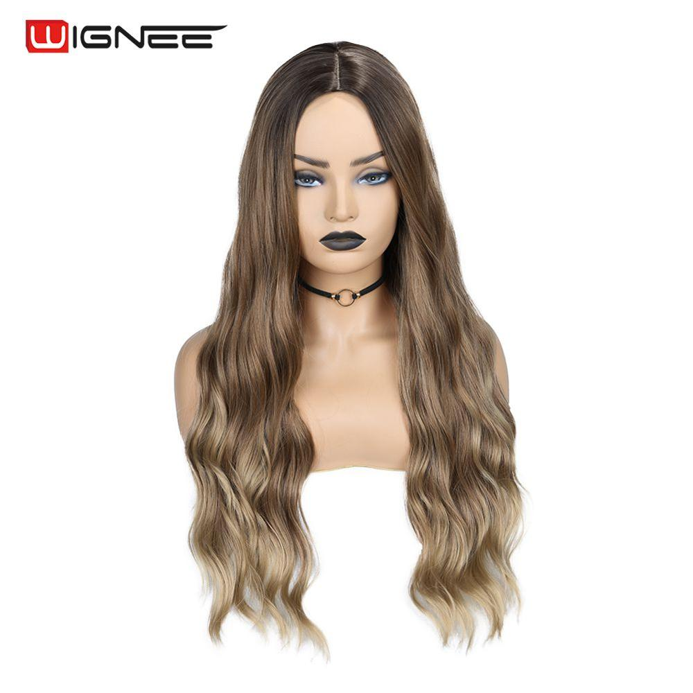 Wignee  Ombre Brown High Density Synthetic Wigs For Women Long Wave Natural Hair For Africa Americans  Curly Fiber Average Size