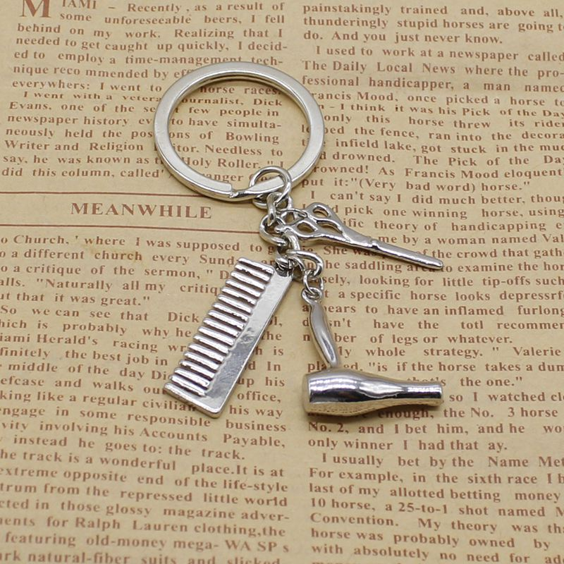 Personality Creative Keychain Barber Gift Comb Scissors Hair Dryer Accessories Keychain