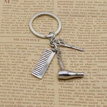 Personality Creative Keychain Barber Gift Comb Scissors Hair Dryer Accessories
