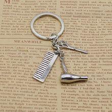 цена на Personality Creative Keychain Barber Gift Comb Scissors Hair Dryer Accessories Keychain