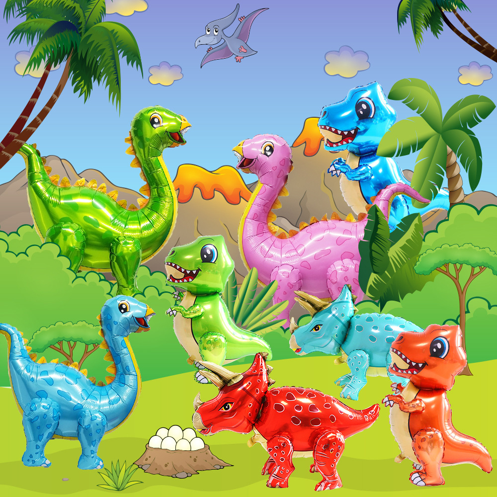 4D Dinosaur Balloons Foil Toys Large Size Standing Green Dinosaur Birthday Decor Party Supplies Toys For Children Helium Globals