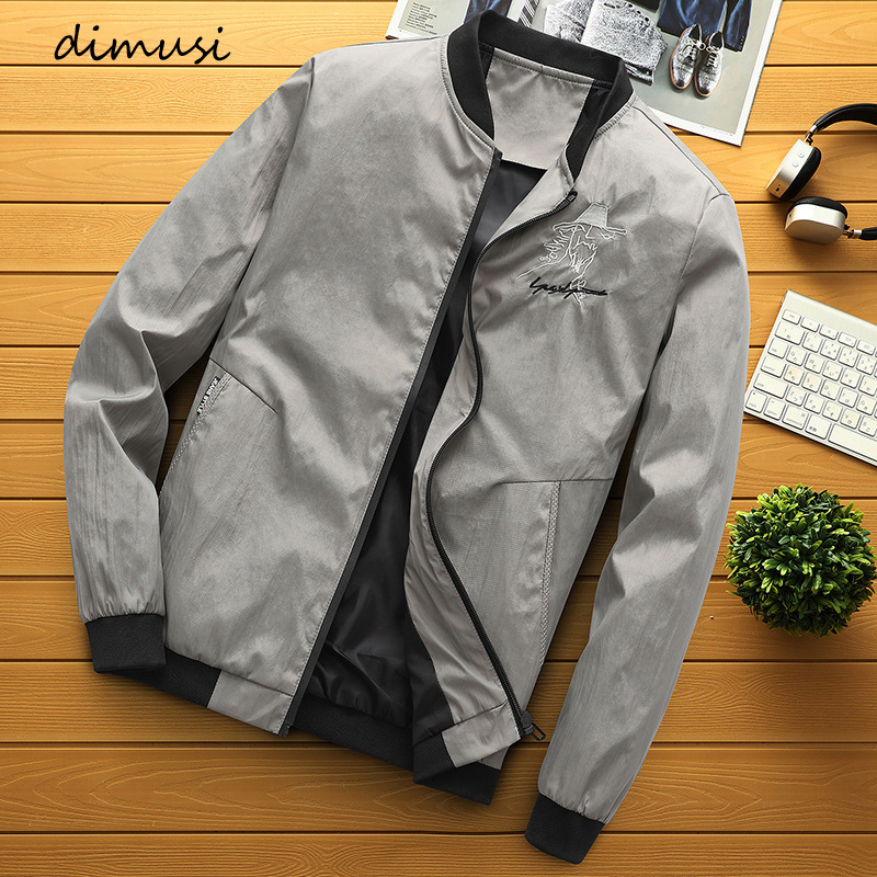 DIMUSI New Men's Bomber Jackets Casual Male Outwear Windbreaker Stand Collar Jacket Mens Slim Baseball Coats Clothing 4XL