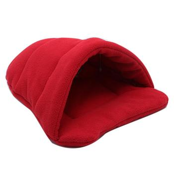 Winter Thick Fleece Warm Dog Cat Tent Cave Nest Bed Slipper Shape Pet Sleeping Bag image