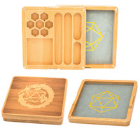 2 in 1 Wooden Dice Case & Dice Tray, Dice Holder for DND Dice Set, D&D, RPG, Tabletop Games