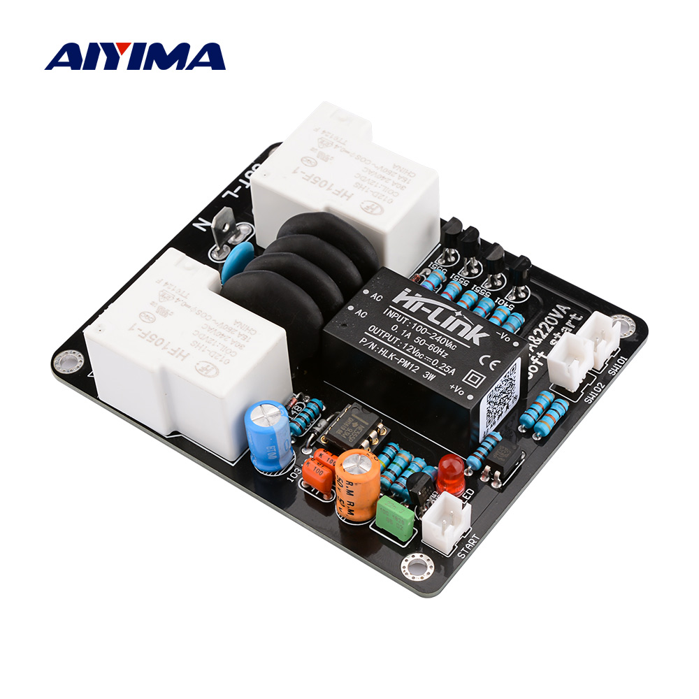 AIYIMA 2000W High Power Soft Start Board 30A Dual Temperature Control Switch Delayed Start Board For Amplifier Amp DIY