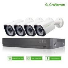 XM Face Detection 4CH 1080P POE IP Camera System Kits Waterproof  CCTV Security Video Surveillance H.265+ XMEye AI G.Craftsman