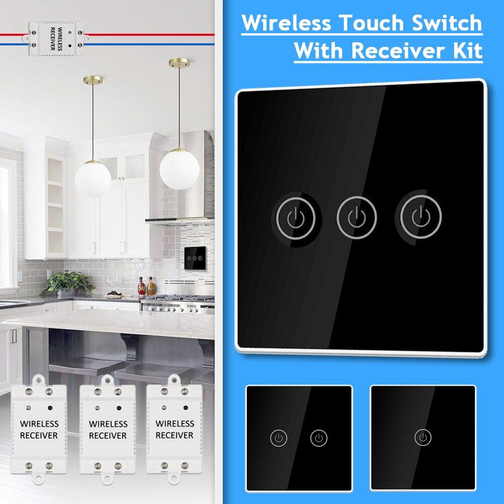Contrôleur de lumière sans fil Smart Touch Switch avec 1/2/3 récepteur 30m télécommande 1/2/3 Gang lampe panneau mural bouton récepteur