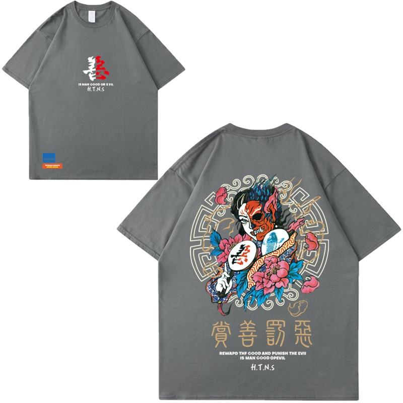 2020 T Shirt Streetwear Men Good And Evil Print Hip Hop T-Shirt Chinese Character Harajuku Tshirt Cotton Short Sleeve Tops Tees