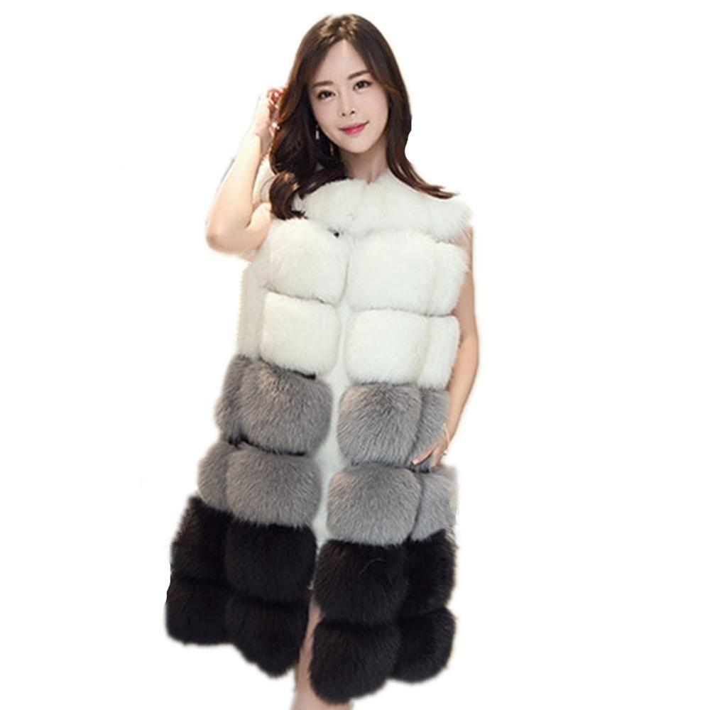 Winter Lady Faux Fur Coat Warm Faux Fox Fur Vest Thick Warm Fur Women Thick Overcoat Fur Vest Outerwear