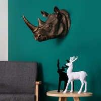 Große 3D Rhinoceros Kopf Statue Skulptur Decor Home Wand Dekoration Zubehör Tier Figurine Hochzeit Party Hängen Dekor