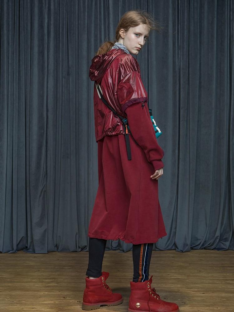 Осень Зима 2019 блестящая ткань Лоскутная Повседневная негабаритная Длинная толстовка пальто для женщин - 3