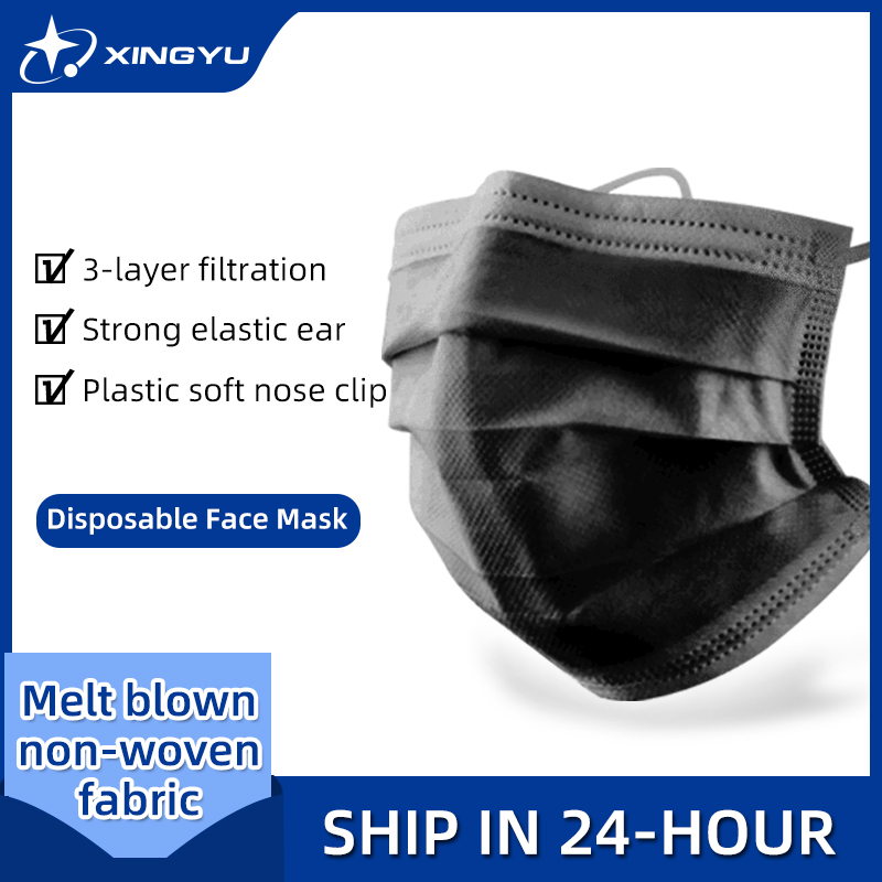 In Stock 20-200PCS Mask Disposable Face Mask Black Nonwove 3 Layers Mouth Mask Filter Anti Dust Breathable Protective Adult Mask