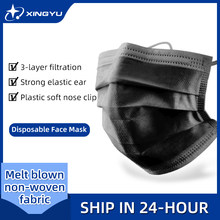 Masque de protection facial jetable noir, lot de 20 à 200 pièces, non tissé, 3 couches, filtre Anti-poussière, respirant, pour adultes