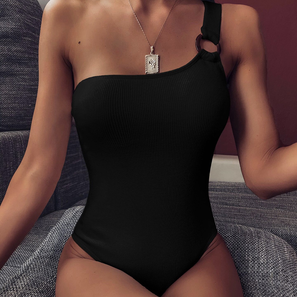 ZTVitality Black One Piece 2021 New Arrival Padded Ring Sexy Swimsuit Female One Shoulder Swimwear Women Bathing Suit Monokini