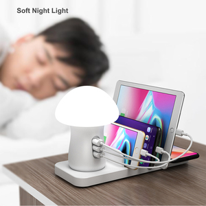 Image 4 - Mushroom LED Light Multi Port 40W USB Charging Station Dock QC 3.0 Quick Charge USB Wireless Charger for iPhone for Samsung
