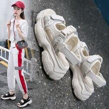 Liren 2019 Summer PU Shoes Casual Fashion Women Sandals Hook & Loop Round Open Toe Platform Flat Heels Comfortable