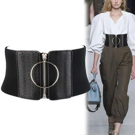 Women Ultra Wide Belt for Dresses Ladies Elastic Belts Female Big Metal Circle Ring Black Waist Strap