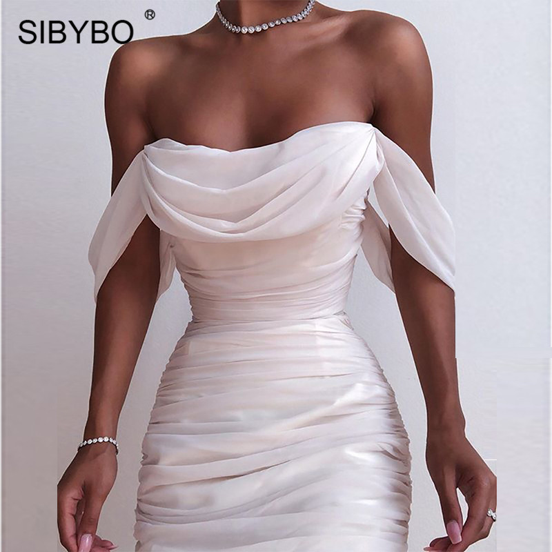 SIBYBO Double Mesh Pleated Sexy Bodycon Dress Off Shoulder Strapless Summer Women Dress White Backless Club Party Dress