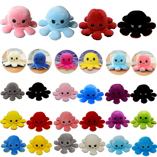 Reversible Octopus Plush Angry Happy Toys Cute Soft Double-sided Different Moods Flip Stuffed Doll Stress Relief Toy Child Gifts