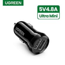 Ugreen מיני 4.8A USB מטען לרכב עבור טלפון נייד Tablet GPS מהיר מטען לרכב מטען USB הכפול לרכב טלפון מטען מתאם במכונית