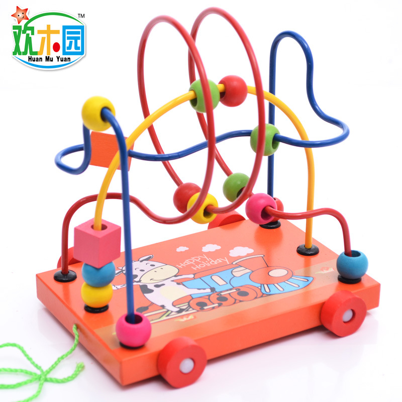 Wooden Car Toy Wood Educational Toy Wood Ability Exercise Toy Cartoon Trailer Bead-stringing Toy