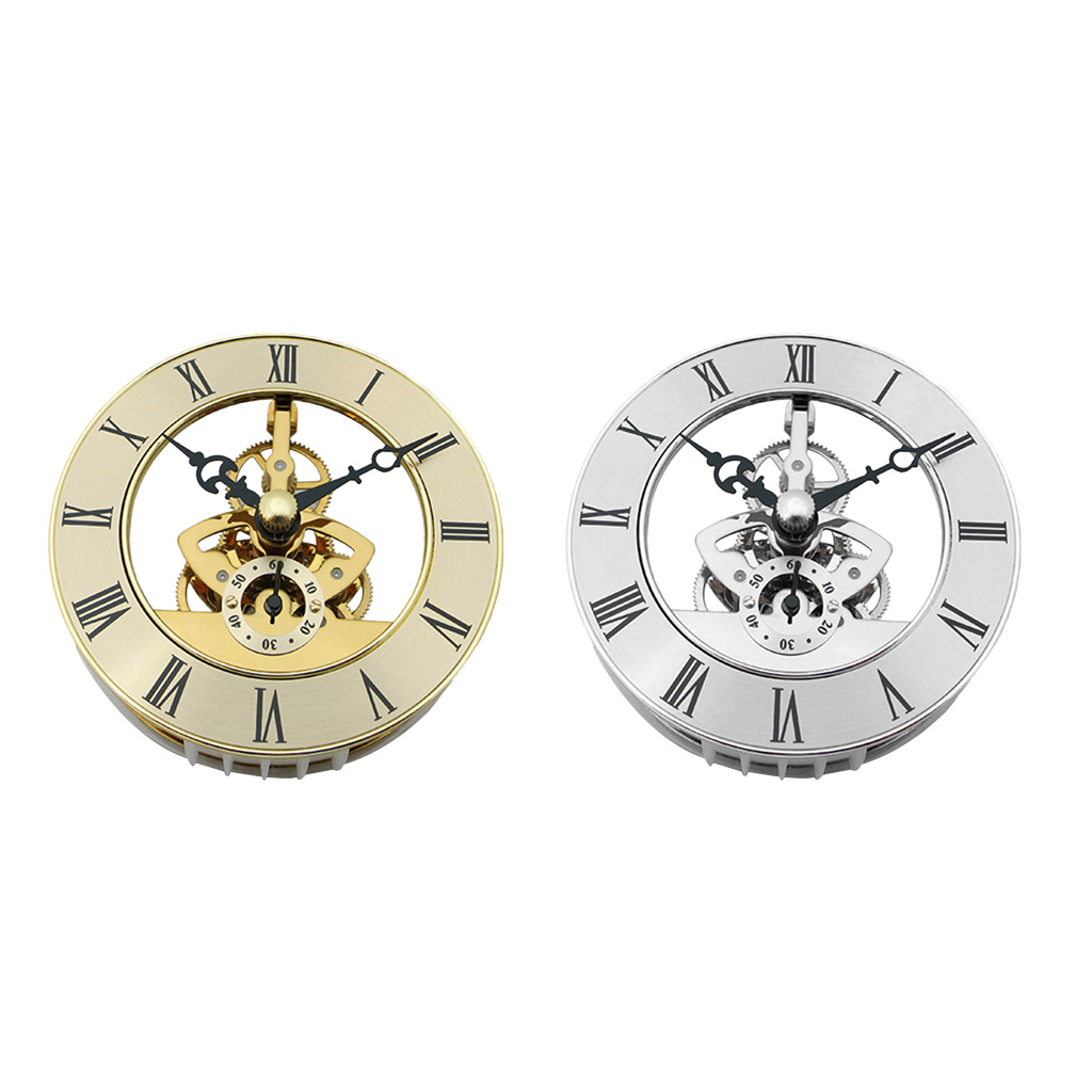 Hollow Skeleton Quartz Clock Movement Insert, With Roman Numeral DIY Craft, Clear