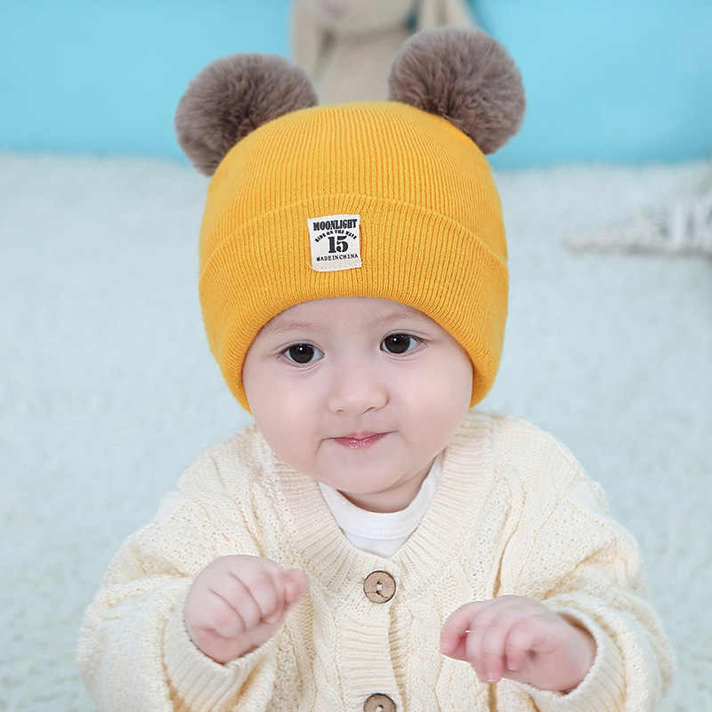Autumn Winter Cute Solid Newborn Windproof Caps Baby Hat Double Fur Ball Infant Knitted Beanies Kids Infant Photography Props