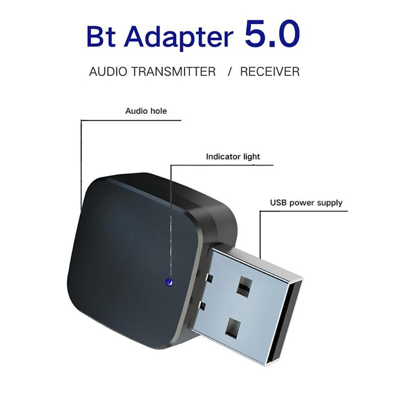 KN324 BT 5.0 Car Bluetooth Transmitter Receiver With 3.5mm Audio Cable Wireless Audio Adapter For TV CD Player Phone Tablet