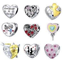 MOWIMO 925 argent Sterling papillon fleur breloques coeur bleu perles CZ ajustement Original Pandora Bracelets pendentif bricolage bijoux BKC653