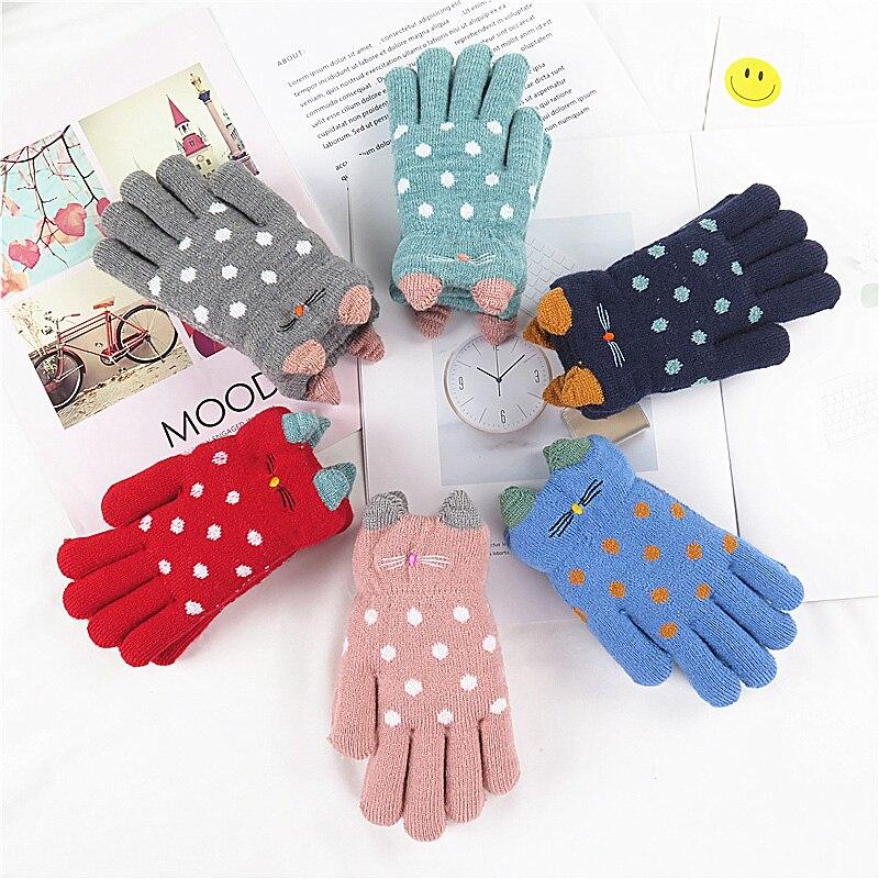 4-7 Years Children Gloves Girl Boy Winter Warm Baby Knitted Gloves Fingers Kid Girl Warm Velvet Thick Winter Gloves For Boy