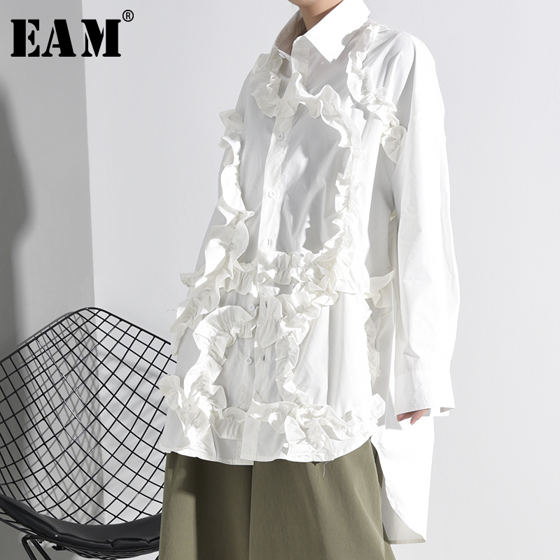 [EAM] Women  White Ruffles Split Big Size Blouse New Lapel Long Sleeve Loose Fit Shirt Fashion Tide Spring Autumn 2020 1K51201