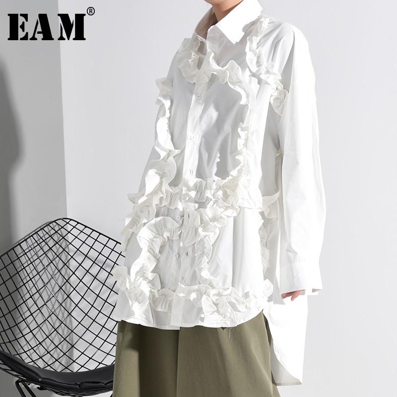[EAM] Women  White Ruffles Split Big Size Blouse New Lapel Long Sleeve Loose Fit Shirt Fashion Tide Spring Autumn 2020 1K51201