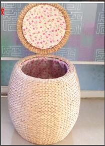 Solid Wood Simple Small Bench Straw Rattan The Round For Shoes Bench Cushion Stool Home Sofa Bench Bar Stool Straw Tatami Stool