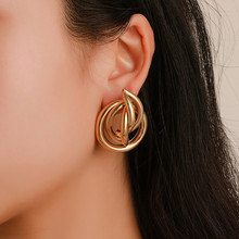 WUKALO Gold Color Alloy Hoop Earrings For Women Exaggeration Earrings Wedding Simple Fashion Jewelry Trend Accessories