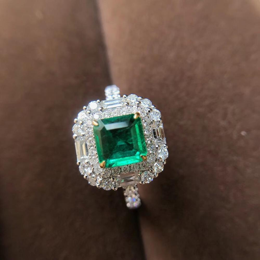 AEAW 1.17ct AAA Natural Colombian Emerald Emgagement Ring Real Solid 18k White Gold Princess Cut Moissanite For Women
