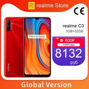 realme C3 Global Version 3GB 32/64GB 6.5'' Moblie Phone Helio G70 Octa Core 12MP Triple Camera Cellphone 5000mAh 10W EU Charger