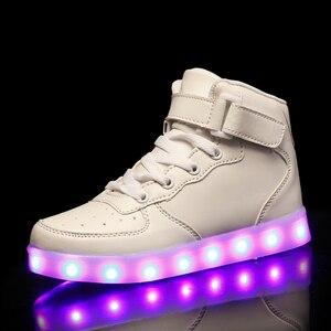 2019 детская обувь с зарядкой от usb, светящиеся кроссовки, детская светящаяся обувь на липучке для девочек и мальчиков, мужская и женская обувь...
