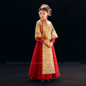 Girls Traditional Chinese Cheongsam Hanfu Wedding Princess Dress Children Qipao Tops Skirt Kids Tang Suit Party Cosplay Costumes(China)