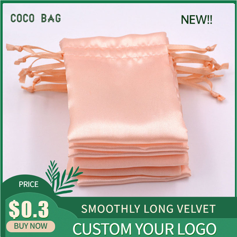 50PCS Satin Drawstring Pouches High Grade Champagne Satin Jewelry Bags Necklace Bead Container Gift Bag Soft Bags Wigs Packing