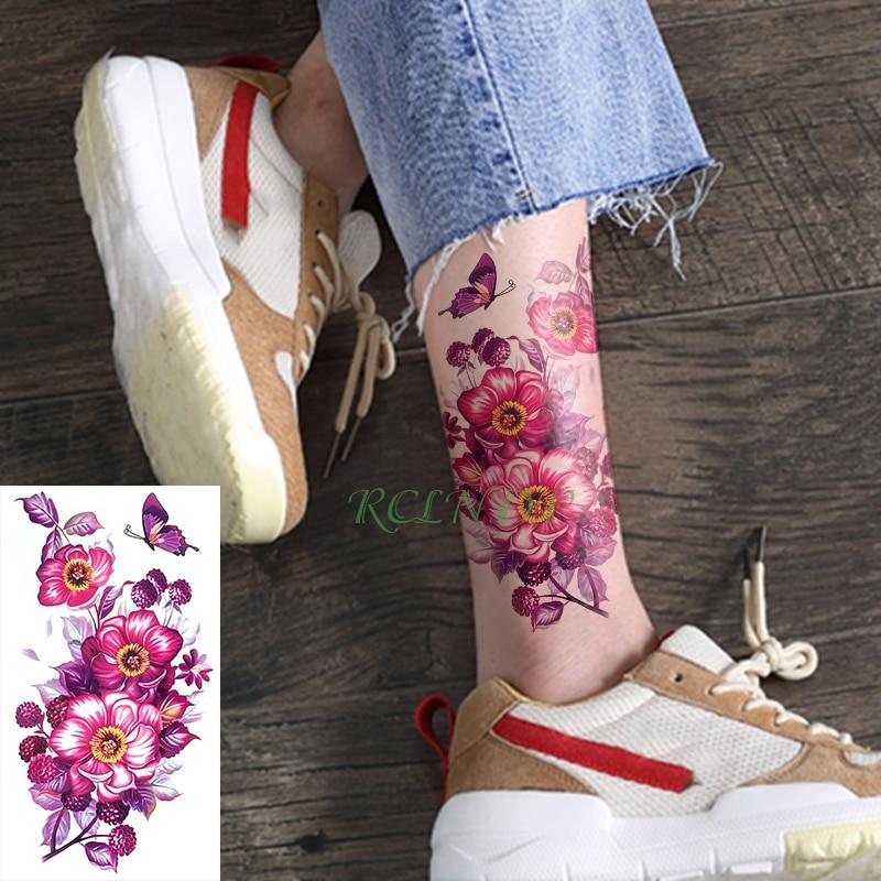 Waterproof Temporary Tattoo Sticker flower rose fake tatto tatouage stickers flash tatoo on foot hand arm tattoos for girl women thumbnail