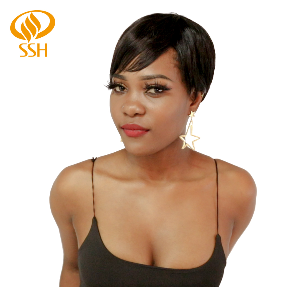 Short Cut Straight Hair Wig 100% Brazilian Human Hair Full Wigs For Black Women Off Black Color Cheap Hair With Bangs Wig