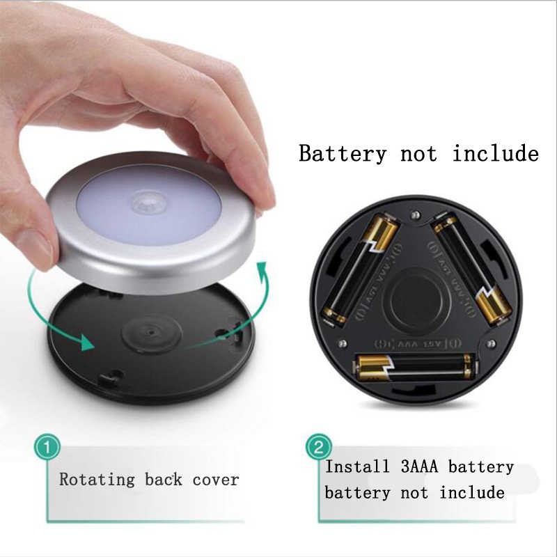 6 LED capteur rond lumières mur escaliers nuit lampe PIR capteur de mouvement Induction placard lumière pour sous armoire chambre cuisine
